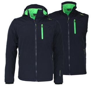 CMP Softshell Jacket Snaps Hood Detachable Sleeves